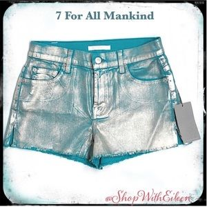 🆕 7 For All Mankind Carrie Turq SilverFoil Shorts